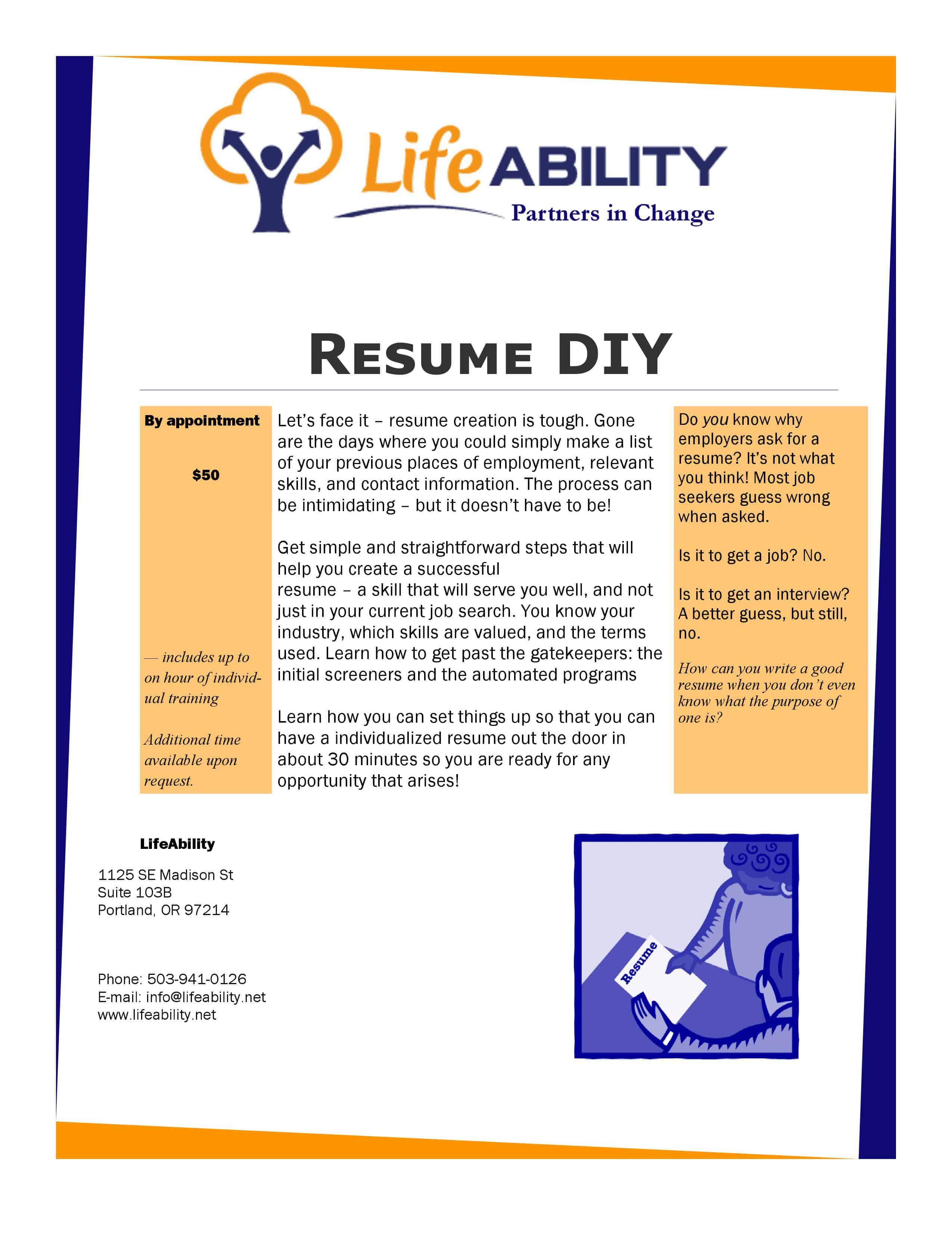 resume diy lifeability